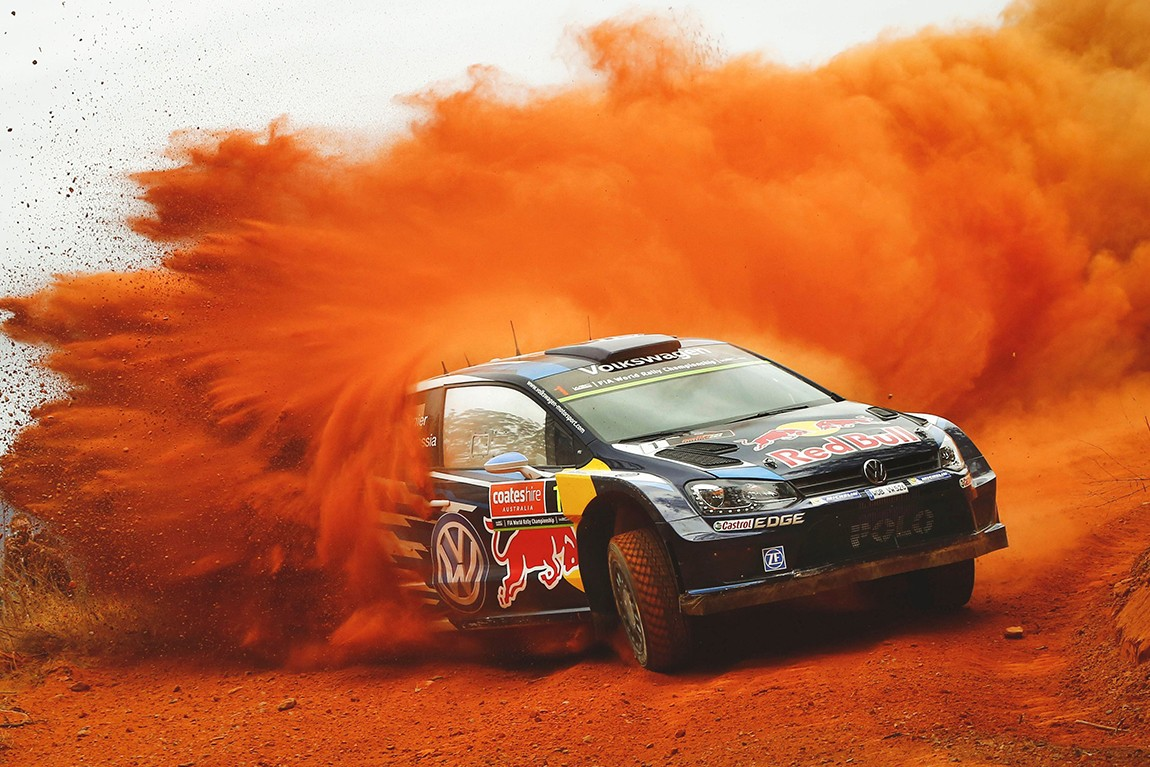 Sebastien Ogier performs during the FIA World Rally Championship 2015 in Coffs Harbour, Australia on September 10, 2015 // @World / Red Bull Content Pool // P-20150914-00556 // Usage for editorial use only // Please go to www.redbullcontentpool.com for further information. //