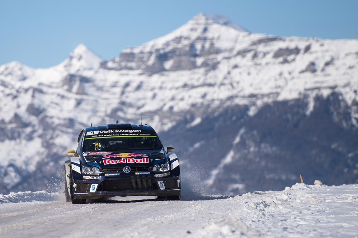Andreas Mikkelsen (NOR) competes during the FIA World Rally Championship 2016 in Monte Carlo, Monaco on January 23, 2016 // Jaanus Ree/Red Bull Content Pool // P-20160124-00010 // Usage for editorial use only // Please go to www.redbullcontentpool.com for further information. //