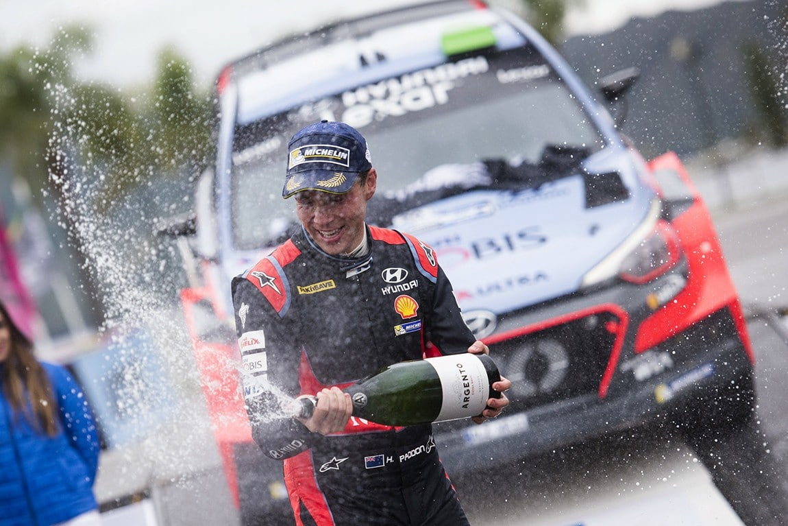 Hayden Paddon(NZL) celebrates the podium during  the FIA World Rally Championship Argentina 2016 in Cordoba, Argentina on April 24, 2016 // Jaanus Ree/Red Bull Content Pool // P-20160424-00833 // Usage for editorial use only // Please go to www.redbullcontentpool.com for further information. //