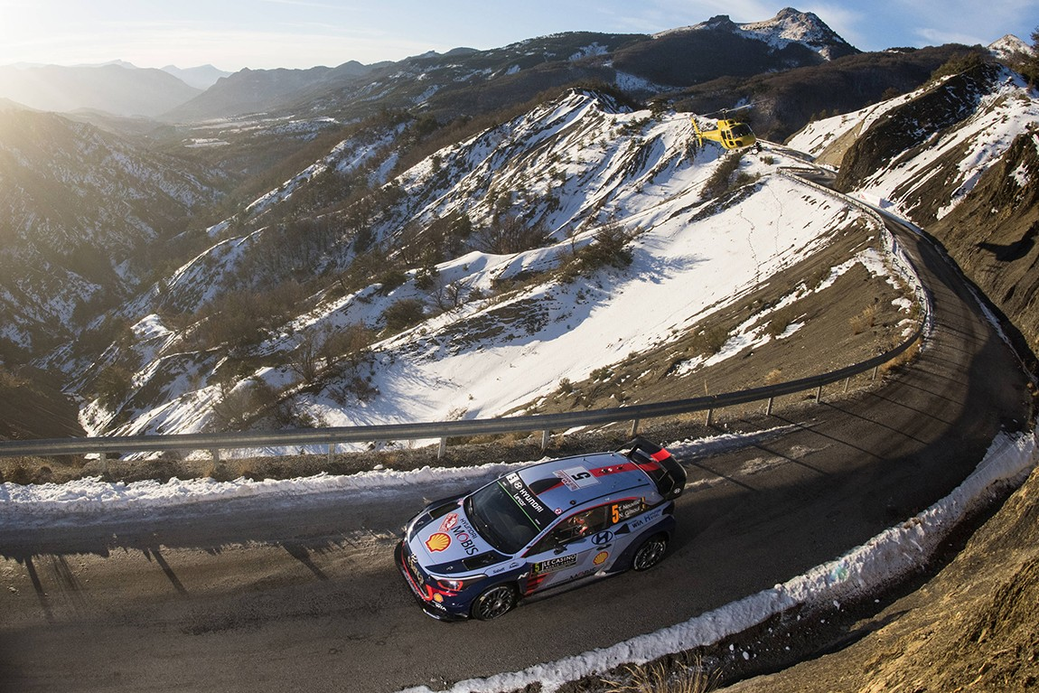 Thierry Neuville (BEL) competes during the FIA World Rally Championship 2017 in Monte Carlo, Monaco on January 21, 2017 // Jaanus Ree/Red Bull Content Pool // P-20170122-00696 // Usage for editorial use only // Please go to www.redbullcontentpool.com for further information. //