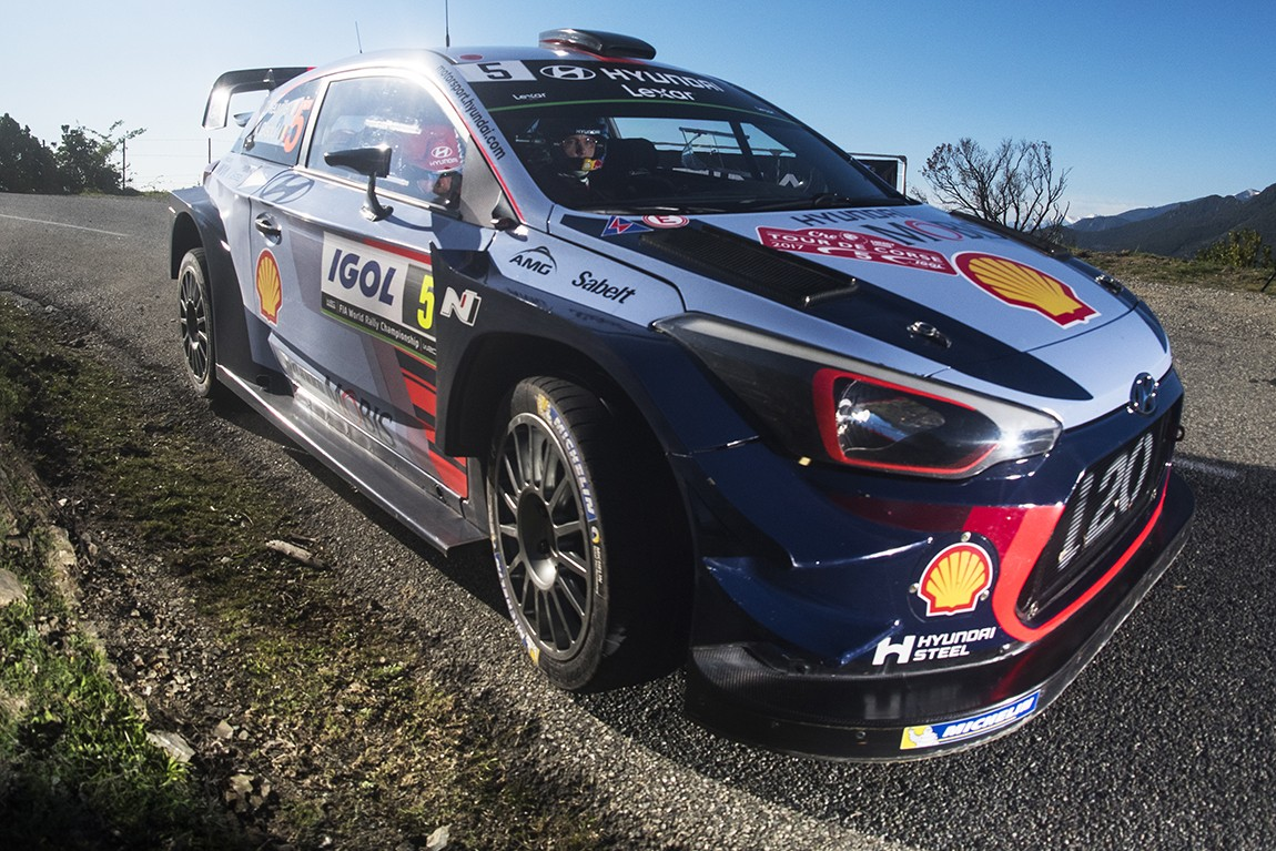 Thierry Neuville (BEL) performs during the FIA World Rally Championship 2017 in Bastia, France on April 9, 2017 // Jaanus Ree/Red Bull Content Pool // P-20170409-00376 // Usage for editorial use only // Please go to www.redbullcontentpool.com for further information. //