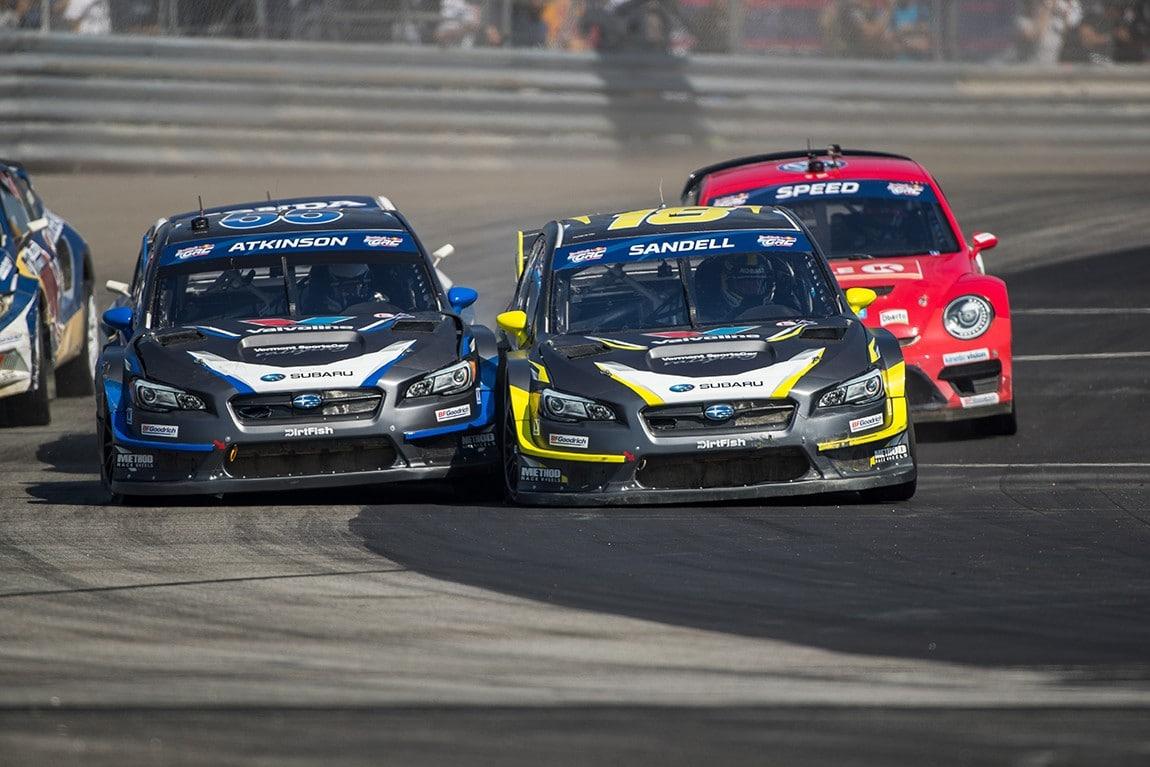 Subaru_teammates_Chris_Atkinson_and_Patrik_Sandell_charge_into_a_corner_at_GRC_LA___MMS20293-2