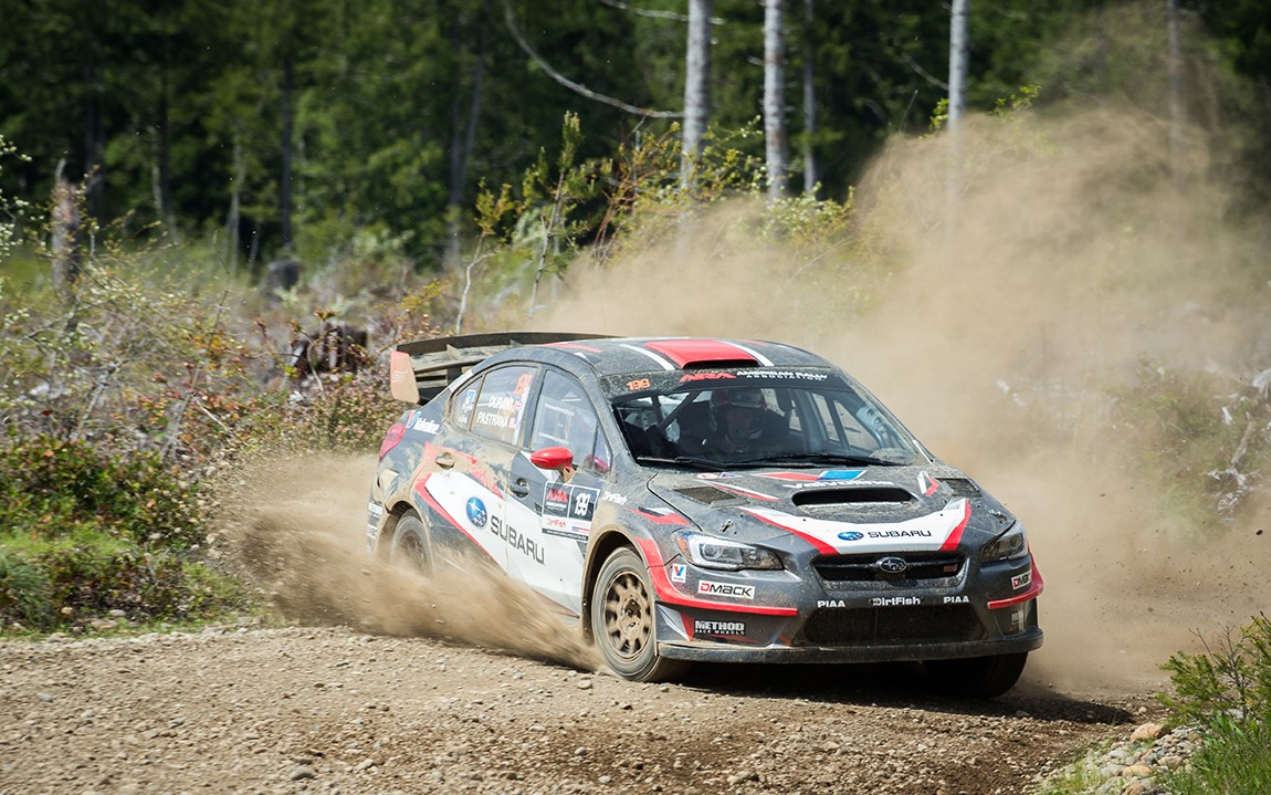 Travis_Pastrana_and_codriver_Robbie_Durant_finished_2nd_to_teammate_Higgins_at_the_Olympus_Rally